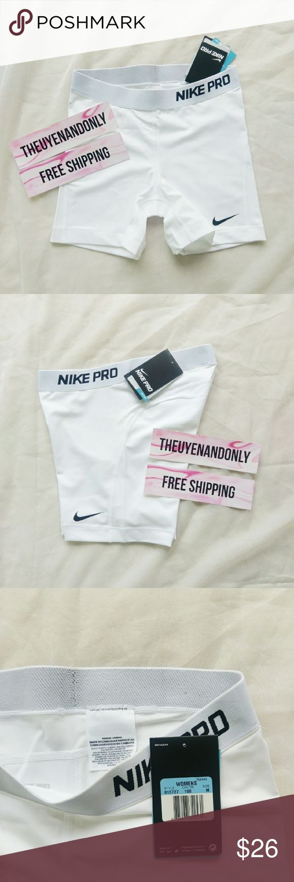 "NWT Nike Pro Shorts 5"" White NWT - Not Accepting Offer NO TRADE I can do FREESHIP - please comment Nike Shorts"