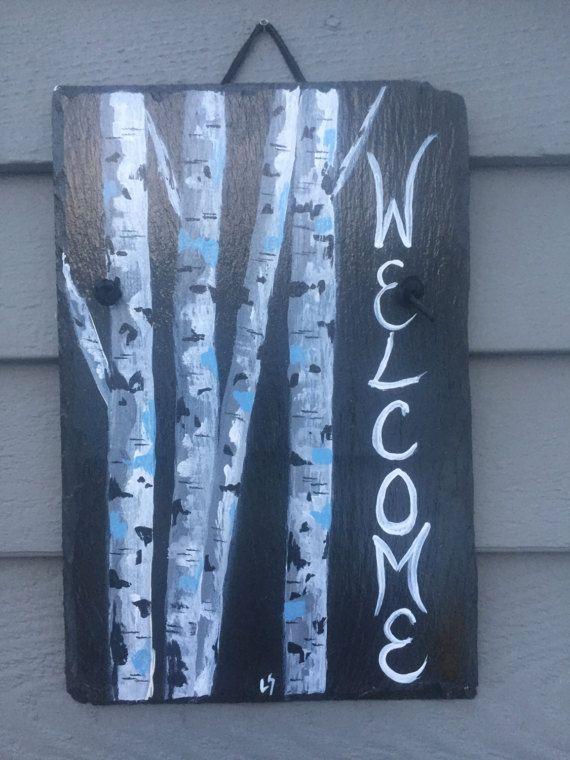 Birch Trees Slate Welcome sign, 12 x 8  painted Slate, Door hanging, Welcome sign, Front Door decoration, door sign, birch tree art