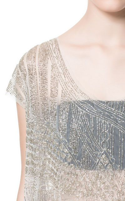 HAND EMBROIDERED ASYMMETRIC TOP WITH BEADING from Zara