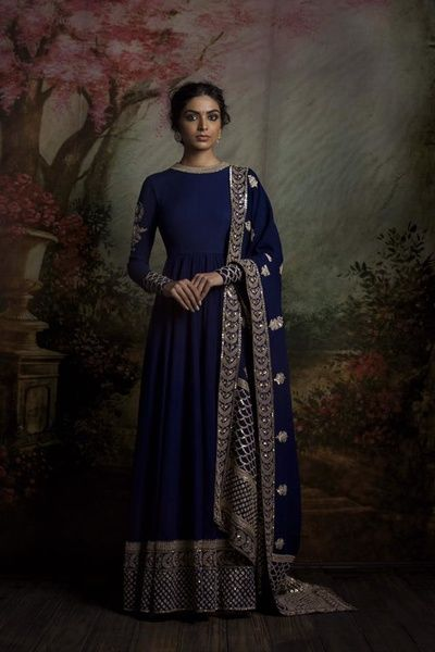 Indian Women Suits - Navy Blue Anarkali Floor Length Suit with Dull Gold Border and Embroidery on Sleeves | WedMeGood | Navy Blue Dupatta with Gold Booties and Embroidery on Borders Outfit by: Sabyasachi  #wedmegood #Indianwedding #indianbride #anarkali #navyblue #sabyasachi