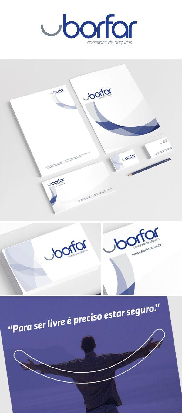 Branding e Material de expediente Borfar Corretora de Seguros.