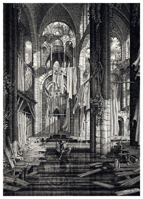 """Adelguêne, l'église inondée. Illustration pour le livre de base du jeu de rôle """"Agone""""."""