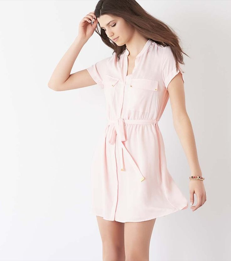 Belted Shirt Dress MAUVE CHALK