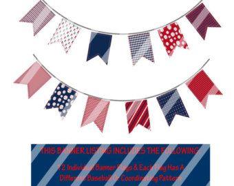 LARGE Baseball Pennant Banner Baseball Banner by Printables4Less