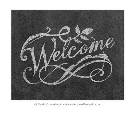 Welcome Printable Art Fancy Chalkboard Style by DesignedByMaria