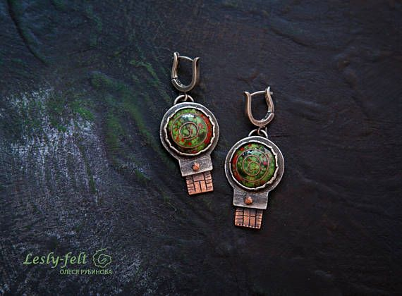Author Artisan jewelry Silver earrings Enameled earrings