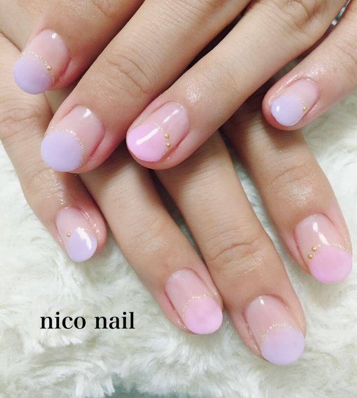 浜松市 中区 自宅ネイルサロン nico nail ニコネイル:丸フレンチネイルとビジューフットネイル