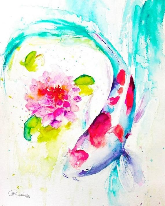 Koi Fish Watercolor Giclee Print This Is A Gallery Level Giclee