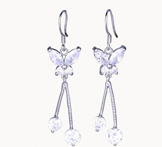 $5.17 50x12mm Butterfly Dangle Women 925 Sterling Silver Earring With Crystal Earddrop