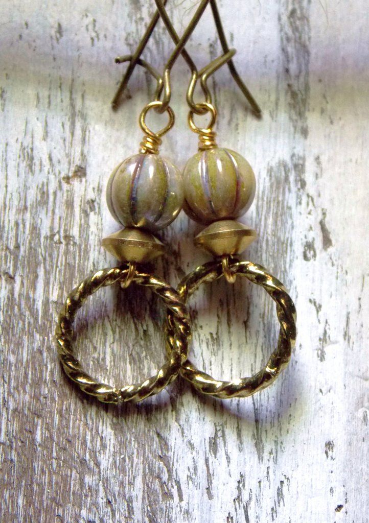 Petite metal earrings •Gold brass textured rings•Czech beads •Gold accents•Brass mini kidney wire earhooks •Measures 1 1/2 inches from top of earwire