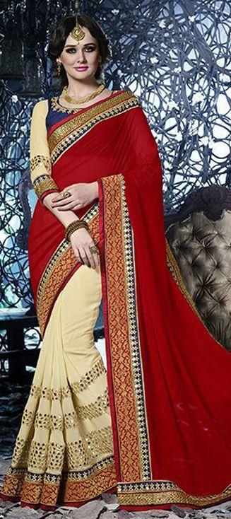 BRIDAL SAREE - Order at only INR 4,100 + free shipping.  #Indianwedding #bride #saree #colorblock #Indianfashion