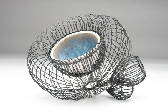 Wire Bowl 2 steel wire and porcelain by JBowlesstudios on Etsy, $256.00
