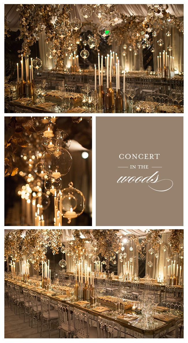 A gala hosted at a private estate featuring gilver eucalyptus chandeliers