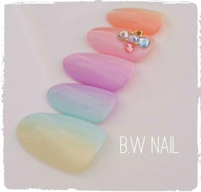 パステルレインボーネイル✲゚ by B.W nail ファッション その他