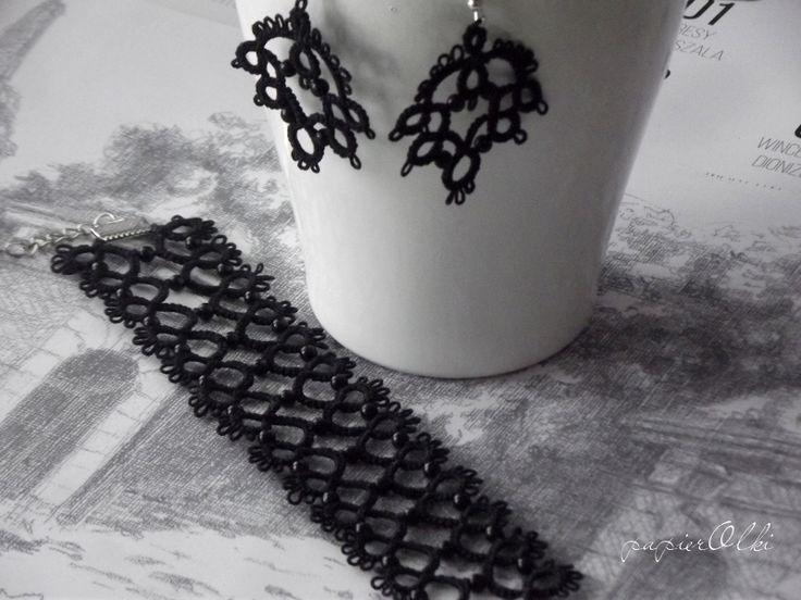 tatting lace bracelet and earrings, frywolitkowa bransoletka i kolczyki
