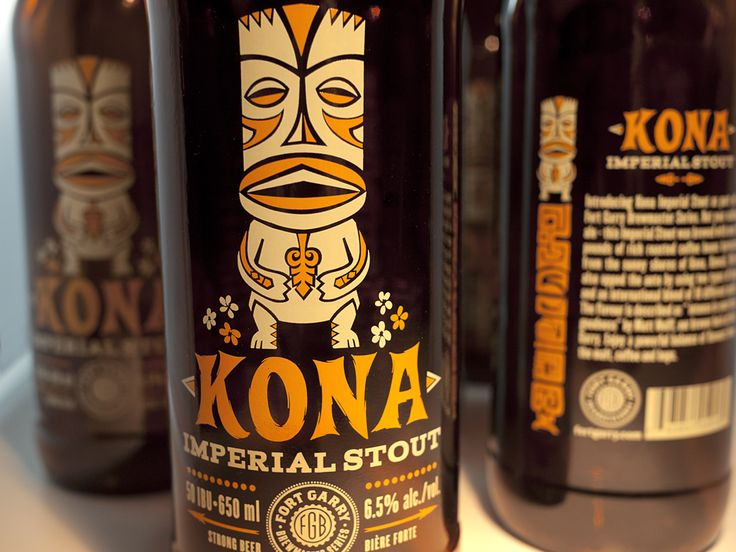 Kona Imperial Stout. Label designed by Atmosphere Design. (ohbeautifulbeer.com)