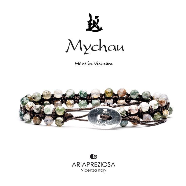 Mychau Double - Bracciale Vietnam originale realizzato con doppia fila di pietre naturali Agata Muschiata su base col. Testa di Moro