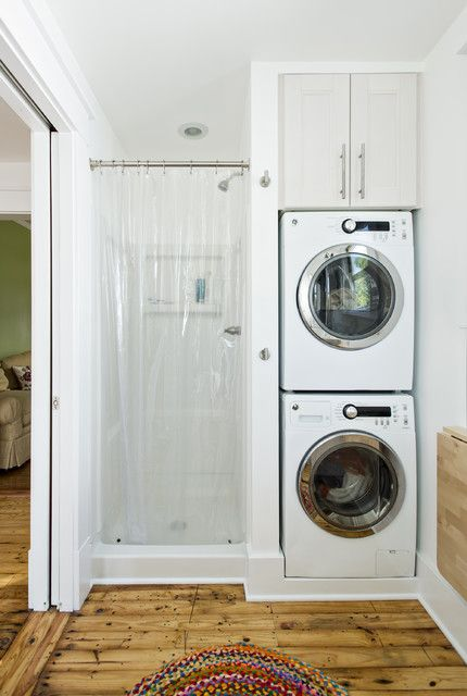 : Traditional Laundry Room Design With Transparent Extra Long Shower Curtain Also Vartical Stacked Washing Machine