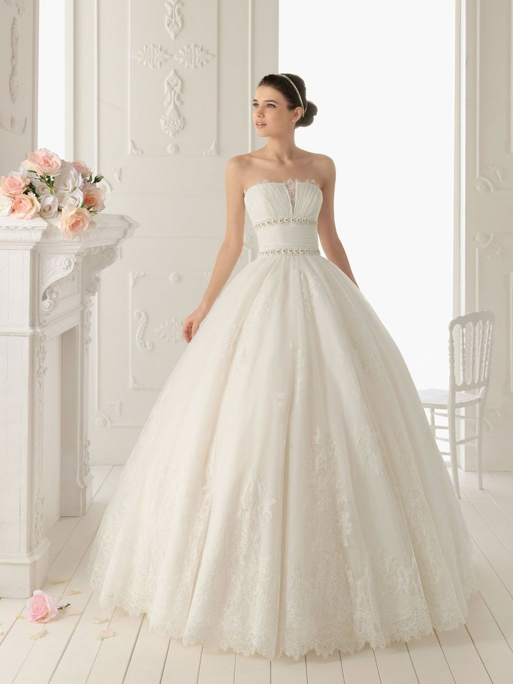 Organza and Lace Ball Gown New Style Strapless Wedding Dress with Fully Shirred Skirt - Wedding Dresses Australia