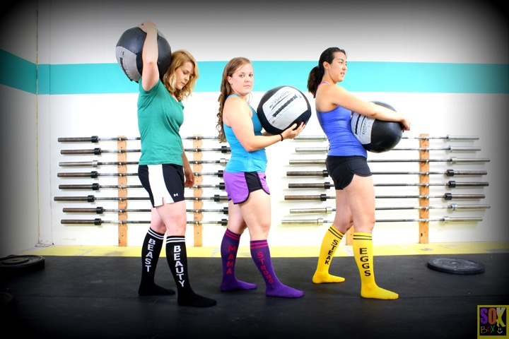 Beauty Beast, Strong Mama, Steak Eggs!  www.thesoxbox.comSteak Eggs, Socks Crossfit, Knee High, Beautiful Beast, Beauty Beast, High Socks, Strong Mama