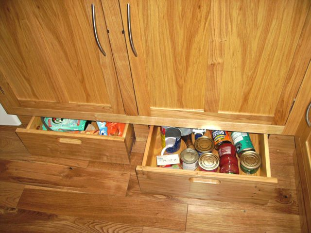 space saving drawers under kitchen units on a narrowboat