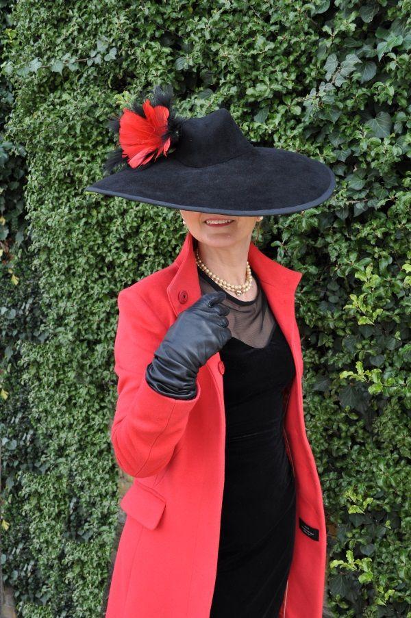Black/Red Rabbit/Felt Hat, Marlene Dietrich Style