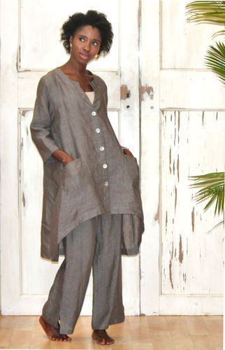 Chalet Usa Flax Linen Barbara Jacket Lagenlook Tunic Xl