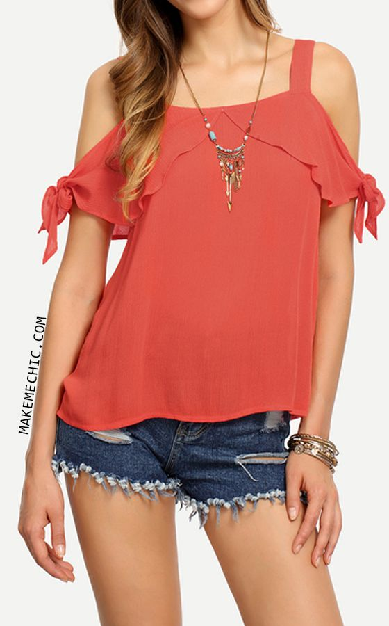 Red Cold Shoulder Tie Cuff Blouse