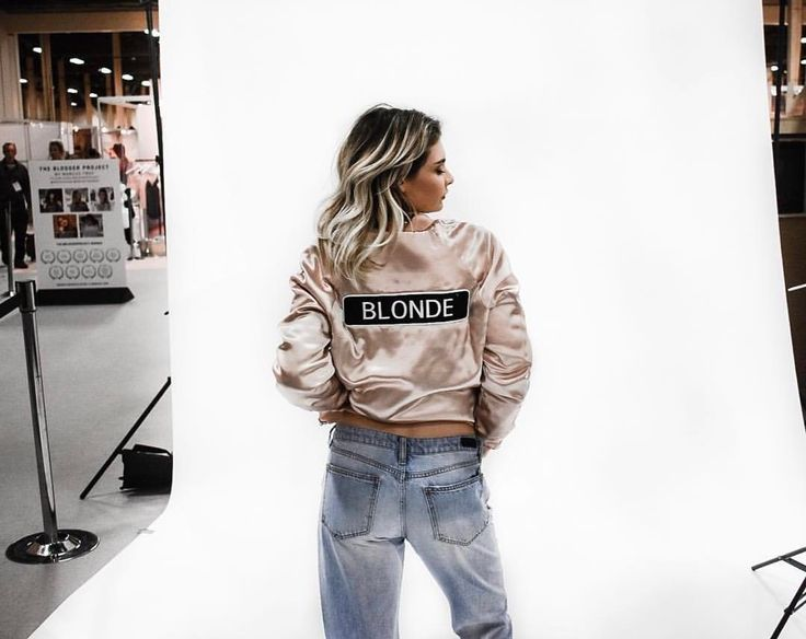 Eva Catherine in the nude blonde bomber jacket. Click the link to see more!
