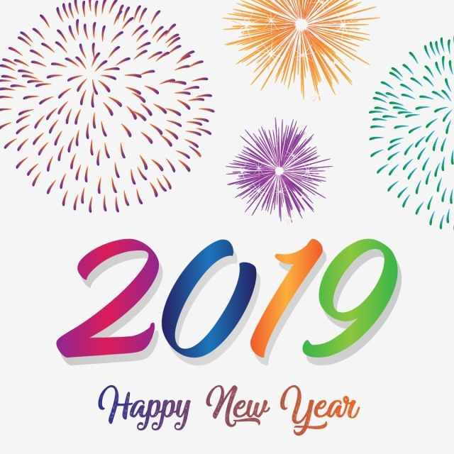 Happy Year 2019 With Colorful Fireworks Year New Happy Png