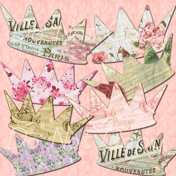 INSTANT DOWNLOAD Paris French Crowns - Shabby Rose - Digital Clipart Buy 1 Get 1 Free
