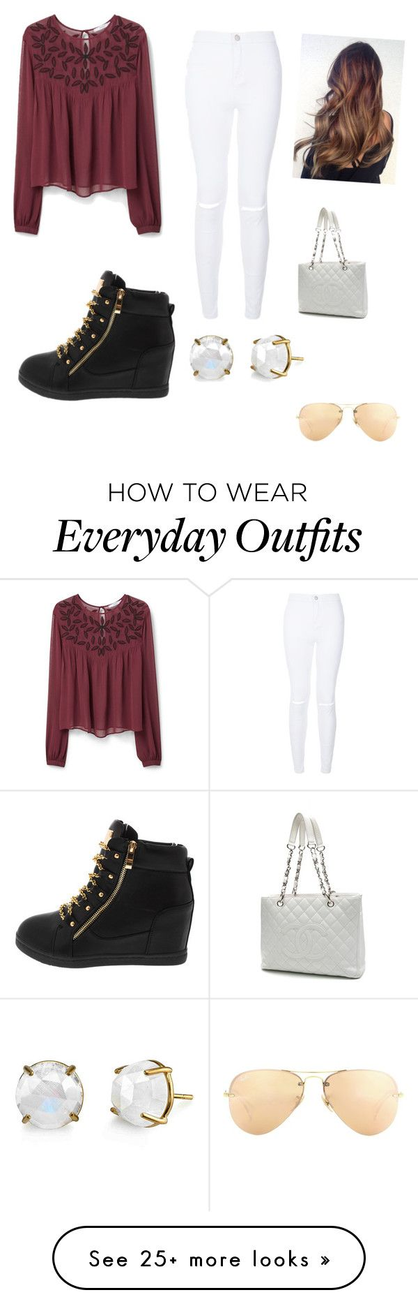 Everyday outfit by marinadelossantos on Polyvore featuring MANGO, Chanel, Ray-Ban, womens clothing, women, female, woman, misses and juniors