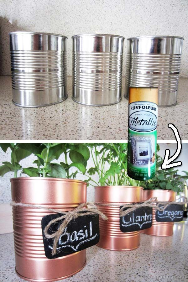 Recycle those empty tin cans to make some beatiful herb pots. | 30 Low-Budget Makeovers You Could Do With Spray Paint