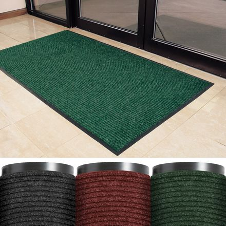 Deluxe Vinyl Carpet Mats - This mat type is designed with double raised ribs, which allows for mud and dirt to be scraped from shoes.