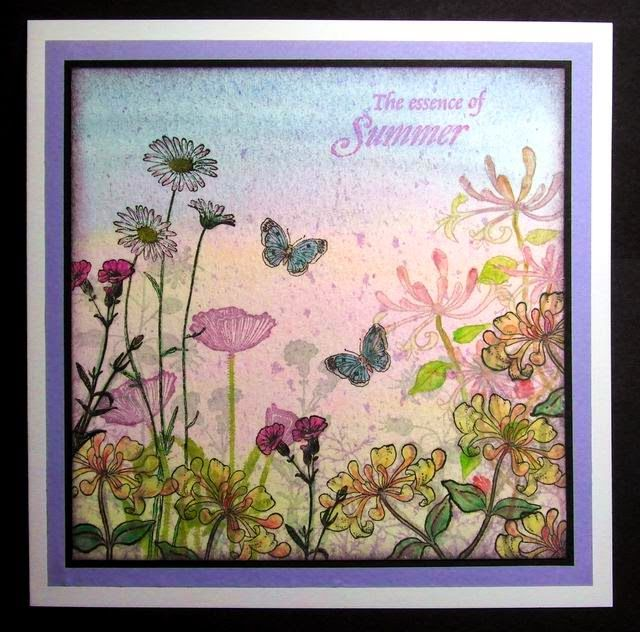 By Lynne K. Color wash the background using diluted Distress inks on watercolor paper. Stamp various flowers and a couple of butterflies. Stamps Lynne used are from Lavinia Stamps, Chocolate Baroque, and Crafty Individuals.