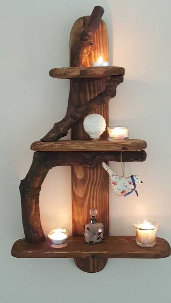 A Unique Rustic Driftwood Shelves Solid Shabby Chic Nautical Candles Ornaments in Home, Furniture & DIY, Furniture, Bookcases, Shelving & Storage   eBay!
