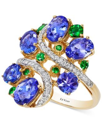 Le Vian® Crazy Collection® Tanzanite (3-3/4 ct. t.w.), Tsavorite (3/8 ct. t.w.) and Diamond (1/5 ct. t.w.) Cluster Ring in 14k Gold, Only at Macy's | macys.com