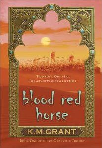 Blood Red Horse You need three things to become a brave and noble knight: A warhorse. A fair maiden. A just cause. Will has a horse—a small chestnut stallion with a white blaze in his brow. Ellie is a fair maiden, but she's supposed to marry Will's older brother, Gavin. And as for the cause, King Richard is calling for a Crusade. The Knights of England must go to the Holy Land to fight- I loved this book trilogy (2.Green Jasper 3.Blaze of Silver)