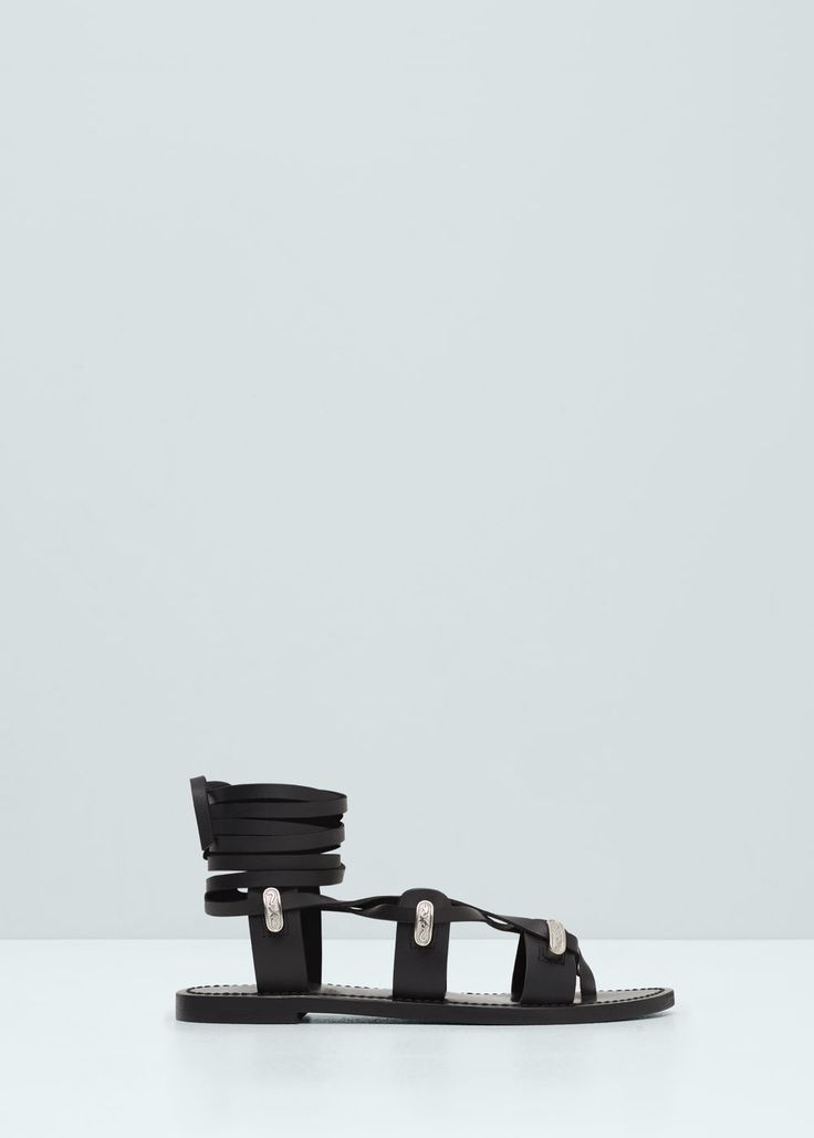 Gladiator leather sandals - Shoes for Women | MANGO USA