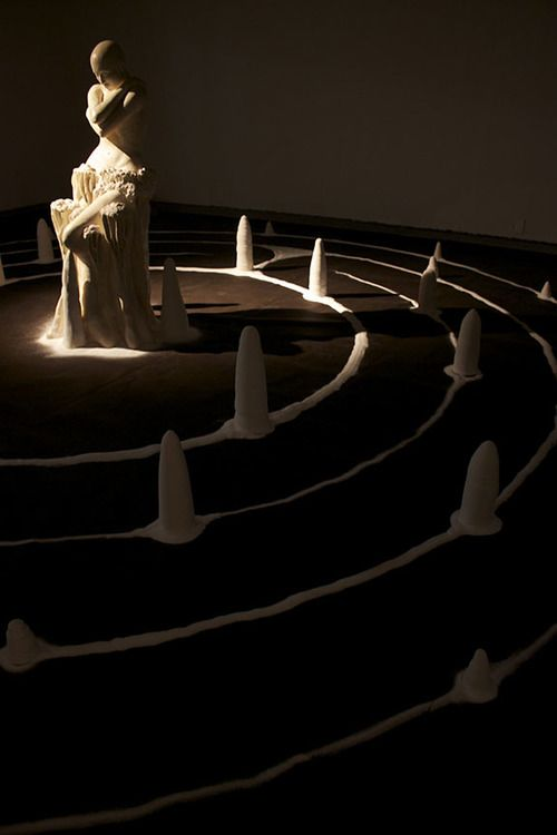 Life size ceramic figure, lithium glaze, salt labyrinth installation titled Lakarin, which means to walk or journey in Tagalog. 2013