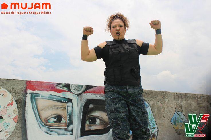 """""""La comandante"""" luchadora mexicana, salón de lucha libre mujam,  Museo del Juguete Antiguo México, CDMX, col. Doctores, WWS, El poder de la Mujer."""