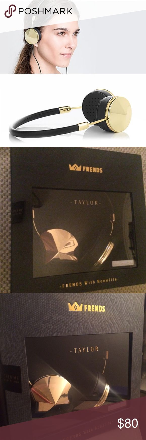 "Frends gold headphones Brand new FRENDS headphones for sale in ""Taylor"" Gold-Black. The headphones are still in the original box and have never been opened. Originally priced at $200 Accessories"