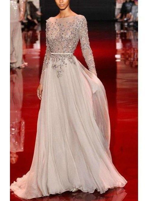 A-line/Princess Stehkragen Long Sleeves Applique Floor-length Chiffon Kleiden