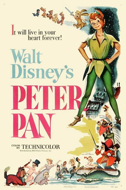 Peter Pan    Un film di Clyde Geronimi, Wilfred Jackson, Hamilton Luske. Con Bobby Driscoll, Kathryn Beaumont, Hans Conried, Bill Thompson, Heather Angel.  Titolo originale Peter Pan. Animazione, Ratings: Kids, durata 76 min. - USA 1953
