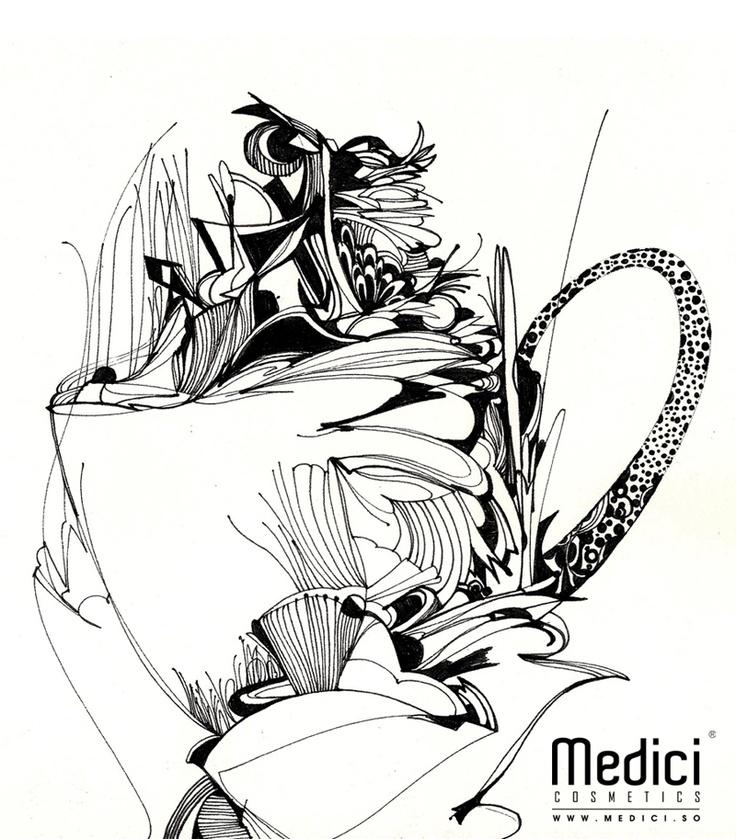 "www.medici.so [Medici x Peach Bang] ""Aromatic Buon Giorno of Dancing Khaldy_춤추는 칼디의 향기로운 본 조르노_ink on paper"""