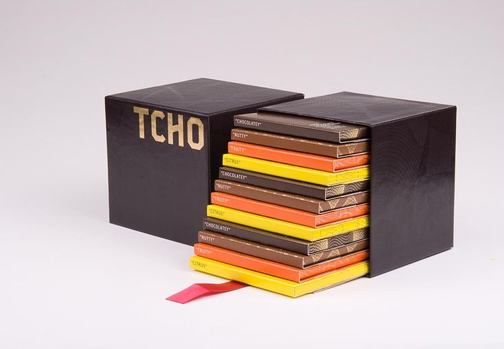Gift box packaging for Tcho chocolate designed by Eden Spiekermann.