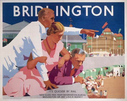 'Bridlington', LNER poster, 1930., Taylor, Fred oster produced for the London & North Eastern Railway (LNER) to promote rail travel to the Yorkshire seaside resort of Bridlington, showing three holidaymakers leaning over the promenade wall, looking down at the beach below. Artwork by Fred Taylor, who was commisioned in 1930 to design four ceiling paintings for the Underwriting Room at Lloyd's and murals for Reed's Lacquer Room. jul16