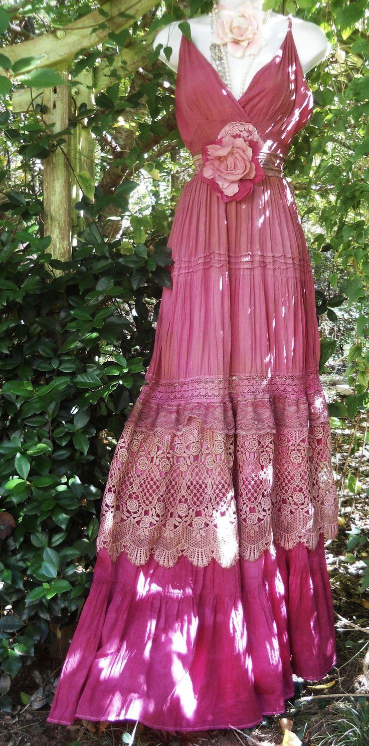 Pink maxi dress boho plum crochet cotton lace silk  tiered   bohemian rose medium  by vintage opulence on Etsy.