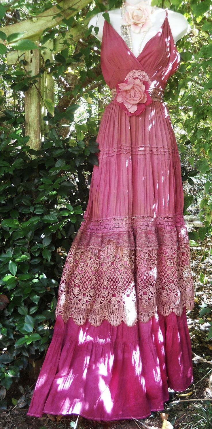 Pink maxi dress boho plum crochet cotton lace silk  tiered   bohemian rose medium  by vintage opulence on Etsy. $155.00, via Etsy.