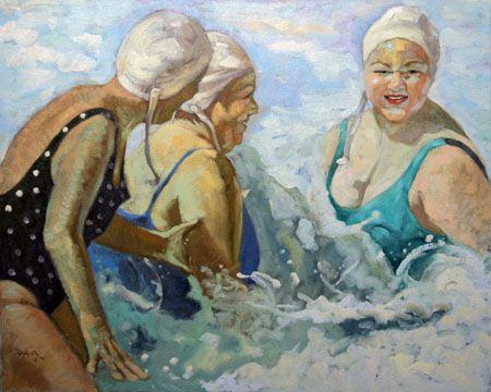 Swimmers Cap - Ladies at the Beach Artwork   Beth Carver